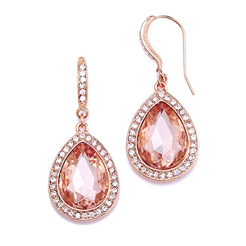 Mariell Blush Rose Crystal Gold Earrings with Pink Morganite Tone - Prom & Bridesmaids Peach Drop Dangles