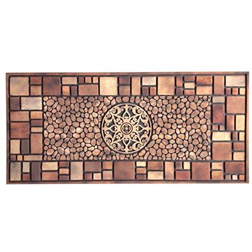 SangreAzul Emboss Rubber Doormat,Recycled Fabric Tire-Link Durable Rug Outdoor Mat Modern Plush Carpet Non Slip Entrance Rug-C 56x120cm(22x47inch) -