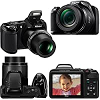 Nikon COOLPIX L340 Digital Camera with 28x Zoom & Full HD Video (Black) International Version + 4 AA Batteries & Charger + 32GB Dlx Accessory Kit w/HeroFiber Cleaning Cloth by Nikon