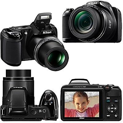 Nikon COOLPIX L340 Digital Camera with 28x Zoom & Full HD Video (Black) International Version + 4 AA Batteries & Charger + 32GB Dlx Accessory Kit w/HeroFiber Cleaning Cloth from Nikon