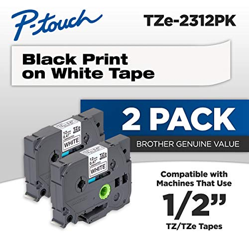 Brother Genuine P-touch, TZE2312PK, 1/2 (0.47) Standard Laminated P-Touch Tape, Black on White, Laminated for Indoor or Outdoor Use, Water Resistant, 26.2 Feet (8M), 2-Pack