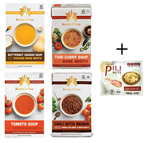 Kettle and Fire Bone Broth Soups -Three Flavor Variety Pack, plus Grass Fed Beef Chili (16.9 oz each) with Sprouted Pili Nuts Trial (Himalayan Salt)