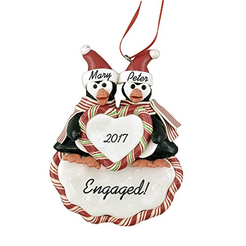 Engaged Penguins Personalized Christmas Ornament - Calliope Designs - Handcrafted - 5