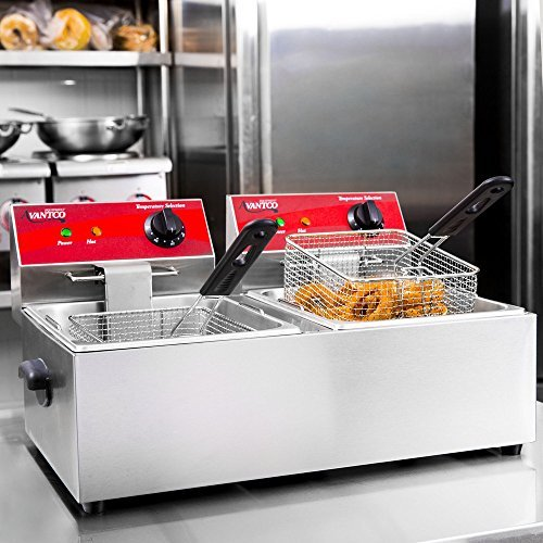 Dual Tank Electric Countertop Fryer 20 lb. 120V, 3500W