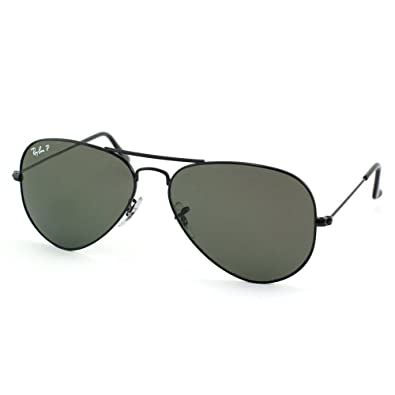 253b5d8cbb8 Image Unavailable. Image not available for. Color  Ray Ban RB3025 002 58 55  Black Green Polarized Large Aviator ...