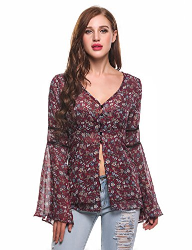 Zeagoo Women Floral Stitching Mesh Tunic Top Blouse Wine Red S Chiffon Flounce