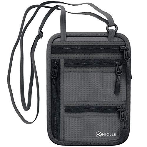 Travel Neck Pouch Black RFID Blocking Passport Holder Necklace Wallet Men /& Women