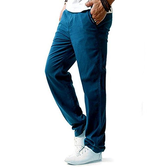 Hibote Pantalones Hombre Verano Pantalones de Lino Sueltos Pantalón de Playa con Bolsillos Laterales Pantalones Hombres Largos Pantalone Casuales ...