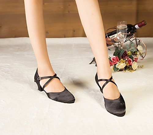 Minishion Womens TH116 Chunky Low Heel Satin Wedding Ballroom Latin Taogo Dance Pumps Shoes Black xz3RIFZtue