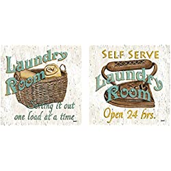wallsthatspeak Fun Laundry Signs; Perfect for Decorating Your Laundry Room! Two 12x12in Prints