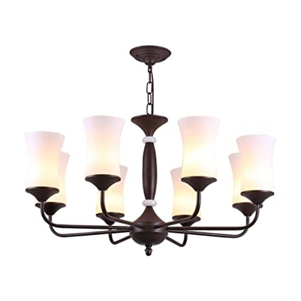 Superieur 8 Light Chandeliers Vintage Glass Pendant Lighting Wrought Iron Dining Room  Lighting Fixtures Hanging Lamp Semi