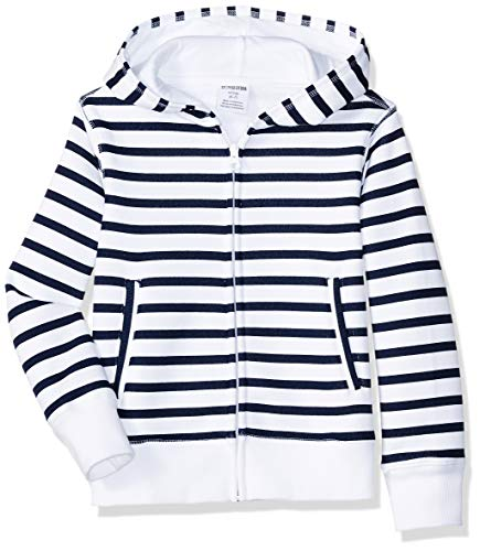 Amazon Brand - Spotted Zebra Big Kid Fleece Zip-Up Hoodies, Navy/White Stripe, Large (10) -