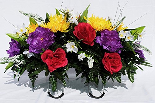 Spring Cemetery Headstone Saddle Arrangement with Yellow Spider Mums, Purple Peony, and Fuschia Roses