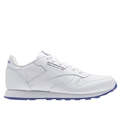 Reebok Classic Leather, Chaussures de Running Fille - Blanc - Blanc Lilas  (Lurex c11805f8a935