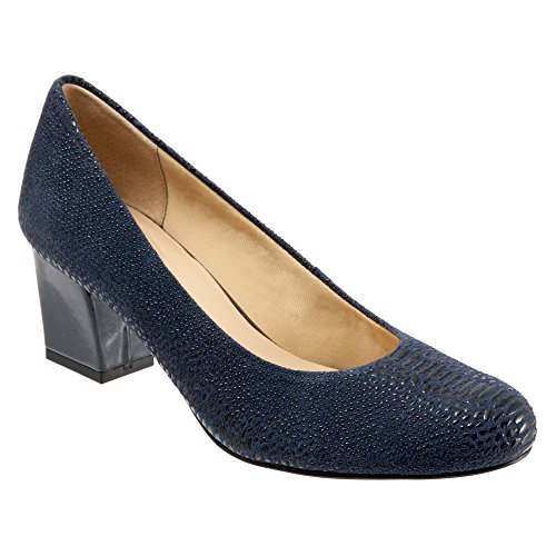 Pump Dress Women's Trotters Candela Leather Lizard Raised Navy BtqHawE