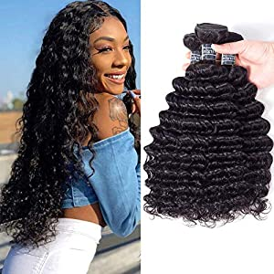 "Amella Hair 8A Brazilian Deep Wave 3 Bundles 100% Unprocessed Virgin Human Hair Natural Color (10"" 10 "" 10"")"