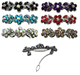 6-Pack of 6 Barrettes with French Clip Clasp and Sparkling Stones U86250-1338-6d1
