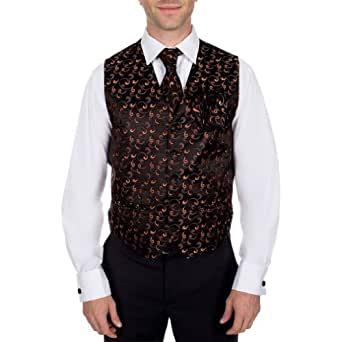 VTHA-ADF-144-S - Tuxedo Formal Mens Vest, Tie, Bow Tie & Hanky 4 piece set