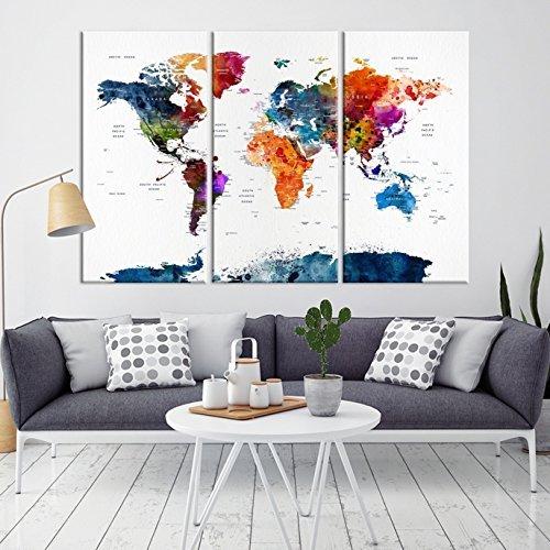 3 panel large world map canvas print world map canvas art large world map