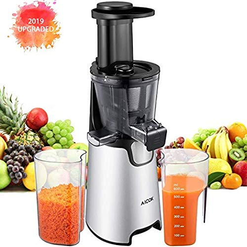 Juicer Machines Slow Masticating Juicer Extractor Aicok Vertical Faster Juicer for Vegetable and Fruits, Easy to Clean, Quiet Motor, Cold Press juicer with Clean Brush and 3 Strainers, Silver