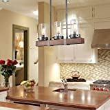 LNC Metal and Wood Chandelier Linear Kitchen Island Pendant Lighting with Seeded Glass Shade, A03346