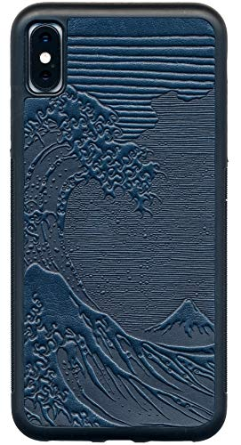 Wave Gripper - Leather iPhone Case for iPhone Xs Max: Rugged, Flexible TPU iPhone Holder with Embossed Top Grain Cowhide Leather, Handcrafted in USA, Hokusai Wave by Oberon Design (XS MAX)
