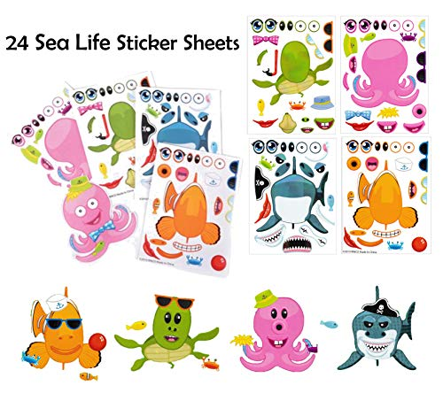 Make A Sticker Sheets (4.5 x 6.5 inches) - Great for Kid's Stocking Stuffers, Easter Basket Stuffers, Party Favors,Travel Activities for Kids (24 Sticker Sheets, Make-A-Sea Life) -