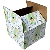 """25 6x6x4 Peacock Designer Boxes corrugated Cardboard Box Shipping Cartons Mailers Custom Printed Containers 6"""" x 6"""" x 4"""" #SmileMail Brand"""