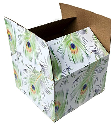 Decorative Corrugated Box - 25 6x6x4 Peacock Designer Boxes corrugated Cardboard Box Shipping Cartons Mailers Custom Printed Containers 6