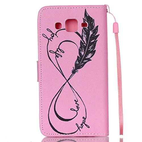G530 funda , Samsung Galaxy Grand Prime G530H/DS funda , Lifetrut® [ Pink Love Hope pluma ] Magnético Snap Case premium tirón caja de la carpeta de la cubierta [Ranura para tarjeta de dinero] funda pa