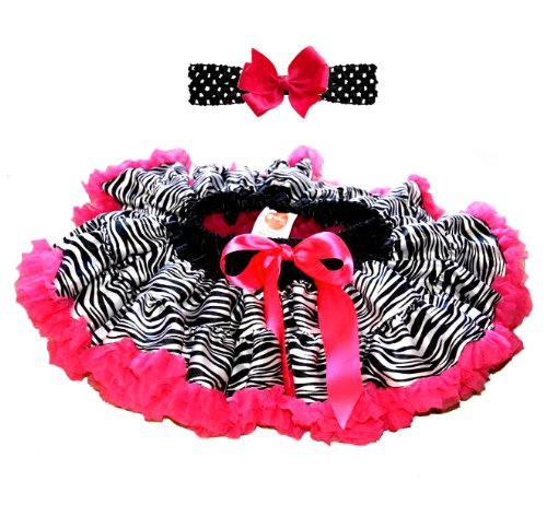 3 Piece Set: EXTRA FLUFFY, Zebra Print with Hot Pink Tool Tutu/ Headband/ Bow (18 to 36 months)