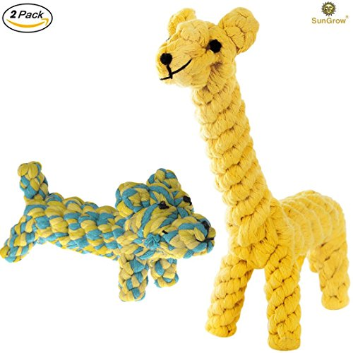 Cotton Tug Ring - 2 Cotton Rope Knot Dog Toys --- Natural Teeth Cleaning Chew Toy - Helps Maintain Healthy Teeth and Gums - Boredom Buster Rope toy - Interactive Pet Play Training toy - Natural Cotton Dog Teething Toy