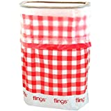 """Flings Bin Gingham Patented 13 Gallon Pop Up Trash Bin for Parties, Picnics and Everyday Use, 22 x 15 x 10"""", Red"""