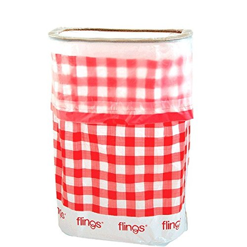 amscan Flings Bin Gingham Patented 13 Gallon Pop Up Trash Bin for Parties, Picnics and Everyday Use, 22 x 15 x 10, Red