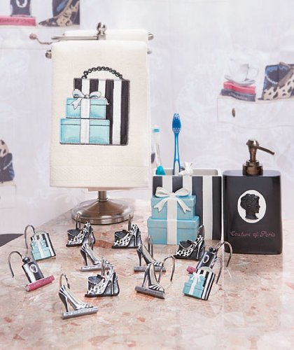 Shower Curtains bathroom ensembles shower curtains : Fashionista Glam Old Hollywood Paris Couture Shoes Purse Fashion ...