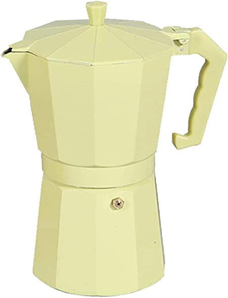 Cafetera italiana clásica aluminio revestido de mármol 12 Taza   (20.5 x 13 x 25.5 cm) (amarillo): Amazon.es: Hogar