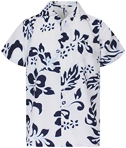 Funky Hawaiian Shirt, Shortsleeve, Hibiscus, Navyblue on White, 6XL]()