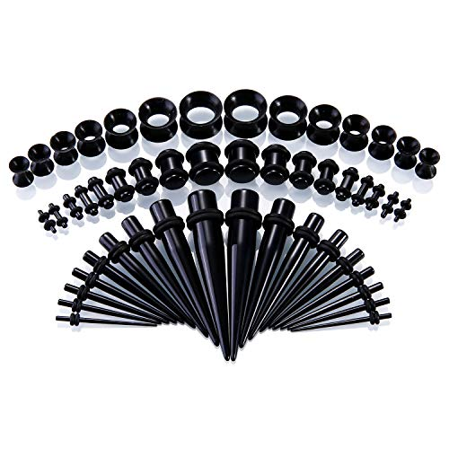 Ear Gauges Stretching Kit, 50 Pcs Acrylic Tapers Plugs and Silicone Tunnels Ear Expander Sets Eyelet Body Piercing Jewelry 14G-00G