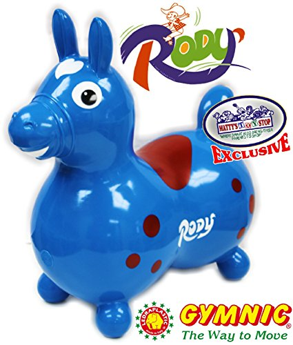 Gymnic Rody Horse Inflatable Bounce & Ride, ''Matty's Toy Stop'' Exclusive Blue & Red (7024) by Gymnic