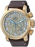 Invicta Men's 'Aviator' Quartz Gold-Tone and Leather Casual Watch, Color:Brown (Model: 22265)