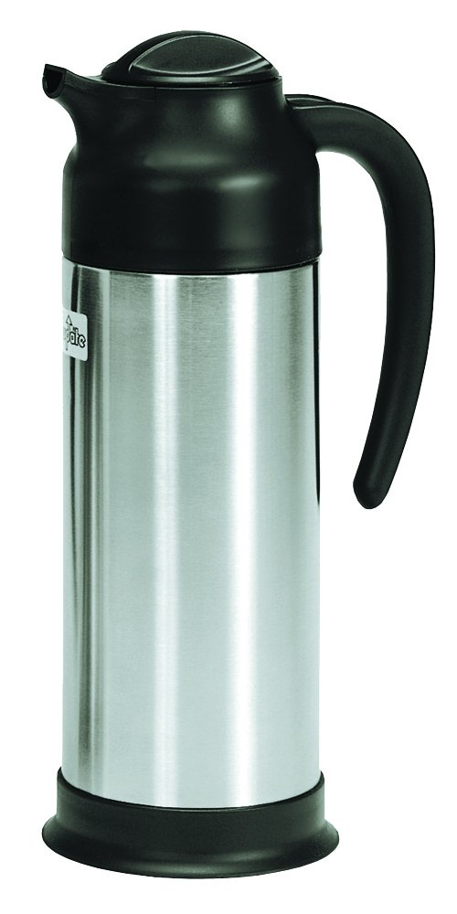 Update International SV-100 33-Ounce Black and Stainless Cream Server, Silver