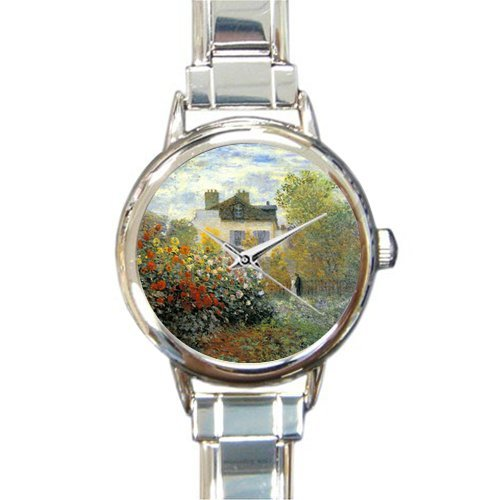 Personalized Watch Garden by Claude Monet Round Italian Charm stainless steel Watch - Christmas Guft