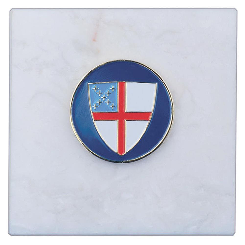 960 Episcopal Shield 3'' x 3'' Carrara Marble Paperweight