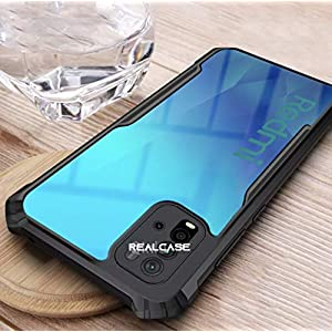 REALCASE Redmi 9 Power Back Cover, Silica Gel Clear Transparent Bumper Case for Xiaomi Poco M3 / Redmi 9 Power (X Black)