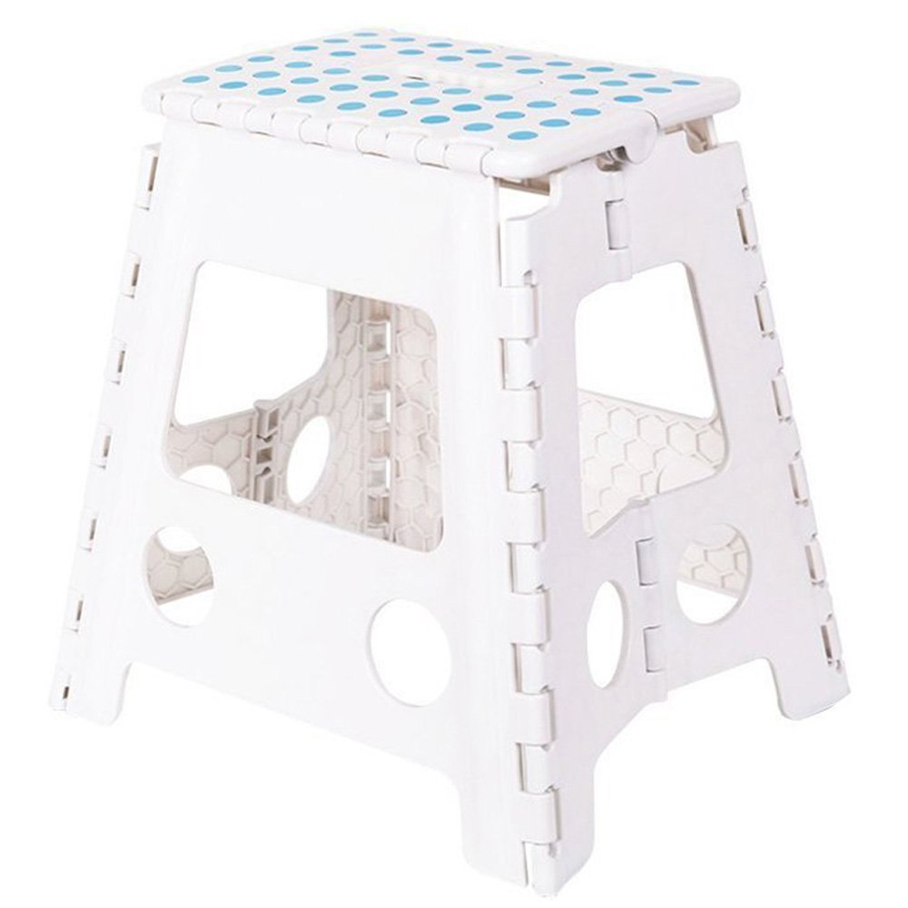 KARMAS PRODUCT Super Strong Folding Step Stool 15 In Portable Carrying Handle for Adults and Kids.Great for Kitchen White