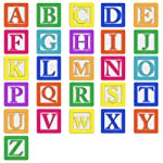LAMINATED 24x24 inches Poster: Baby Blocks Alphabet Abc Letters Colourful Block Blocks Baby Toy Education Wooden School Text Learn Letter Preschool Childhood Cube Colorful Kindergarten Learning
