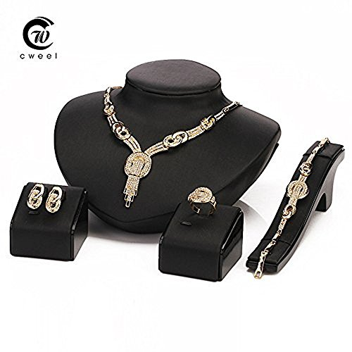 [Gold Plated Wedding Statement Necklace CZ Crystal Crazy Big Flower Heavy Luxury Women Party Earrings Bracelet Ring Jewelry] (Crazy One Direction Fan Costume)