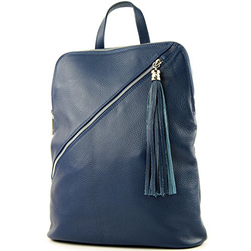 modamoda de - Made in Italy - Bolso mochila para mujer T161 Jeansblau
