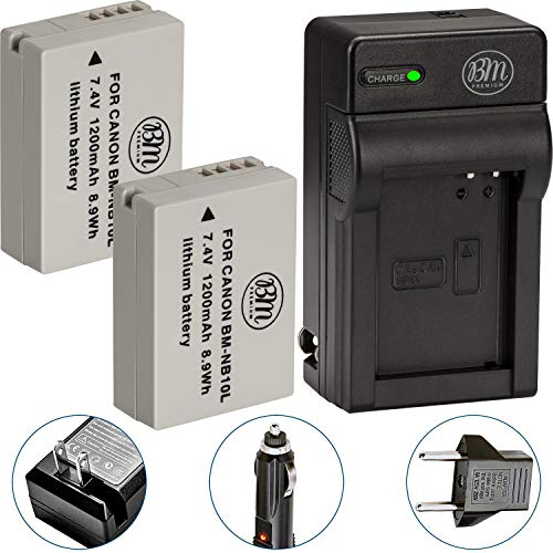 BM Premium 2 Pack of NB-10L Battery and Charger Kit for Canon PowerShot G15