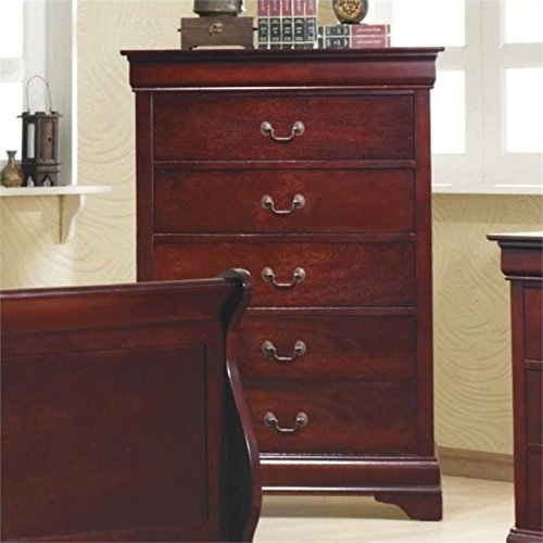 BOWERY HILL 5 Drawer Chest in Rich Cherry